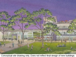 Rendering of library and events center