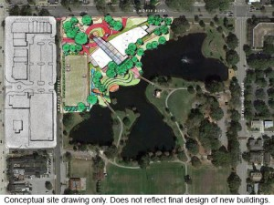 Conceptual Rendering Of MLK Park with Library and Events Center