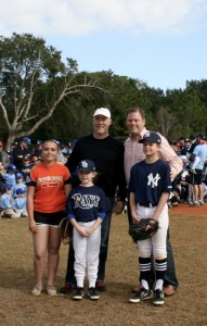 Representative Mike Miller and Mayor Steve Leary with the ceremonial first pitch players