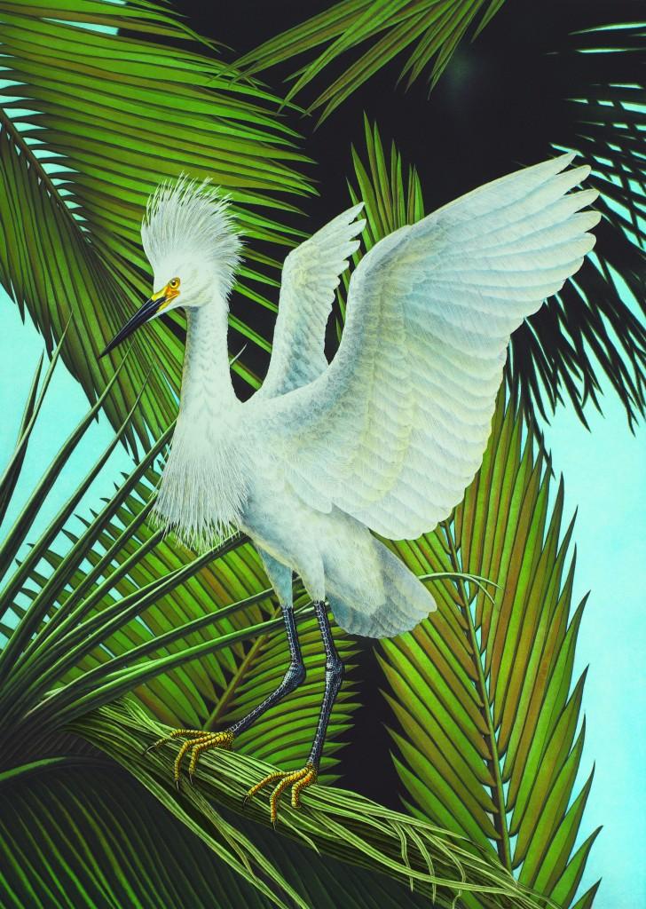 2016 Winter Park Sidewalk Art Festival Poster - Snowy Egret - By John Costin